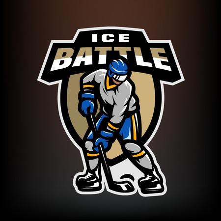 Hockey player, logo. 向量圖像