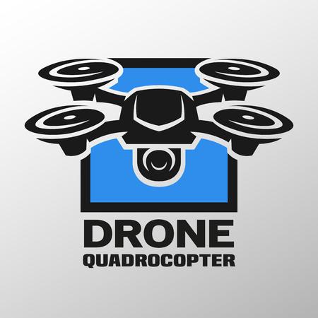 ドローン quadrocopter ロゴ。 写真素材
