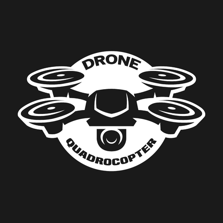 Video drone quadrocopter logo. Stock Illustratie