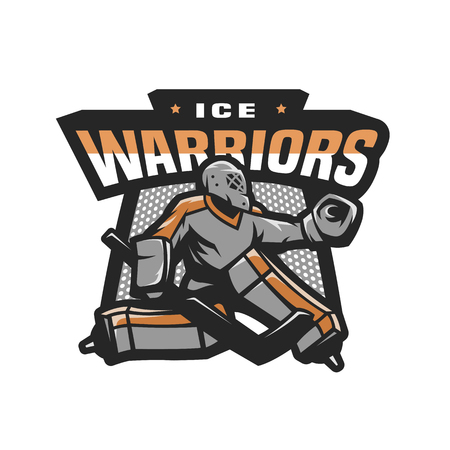 Hockey goalkeeper logo, emblem. Illustration