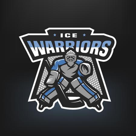 Hockey goalkeeper logo.