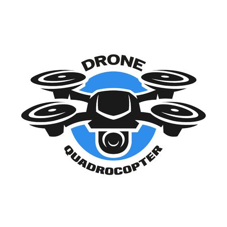 Video drone quadrocopter logo. Illustration
