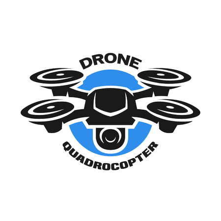 Video drone quadrocopter logo. 向量圖像