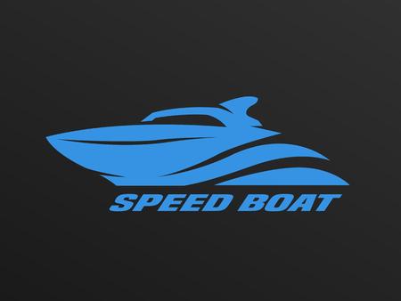 Speed boat logo on a dark background. Illustration