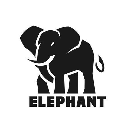 象。モノクロのロゴ。  イラスト・ベクター素材