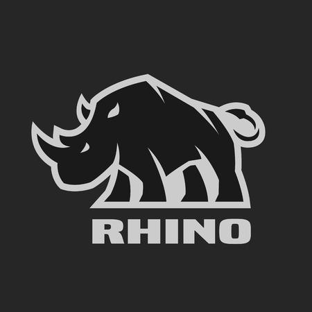 Angry rhino. Monochrome logo on a dark background. Illustration