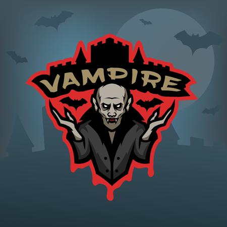 Vampire, emblem on a dark background.
