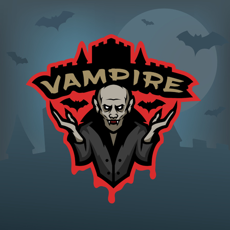 Vampier, embleem op een donkere achtergrond.