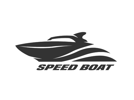 Speed boat, monochrome logo, emblem Vector illustration