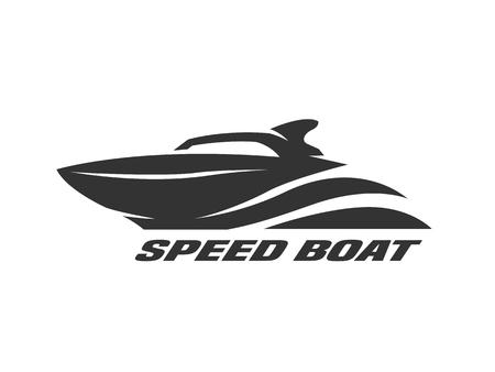 Speed boat, monochrome logo, emblem Vector illustration