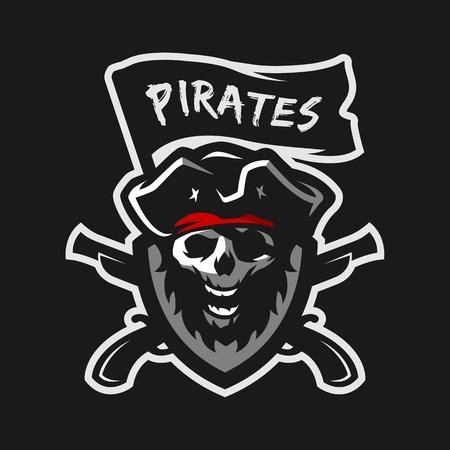 Skull of captain of pirates, flag and weapon. Illustration
