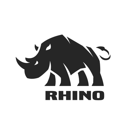 Angry rhino. Monochrome icon