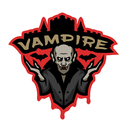 Vampire, emblem on a dark background.