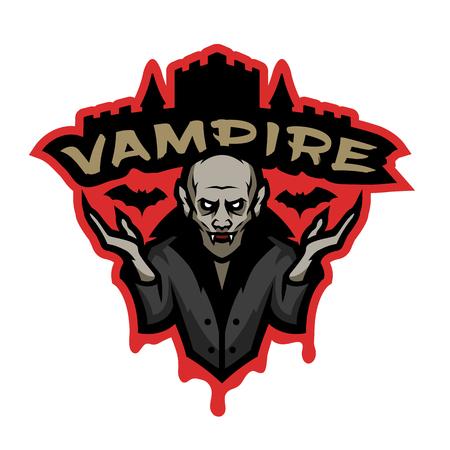 Wampir, emblemat na ciemnym tle.