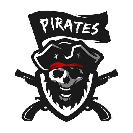 Skull of captain of pirates. Logo, emblem.