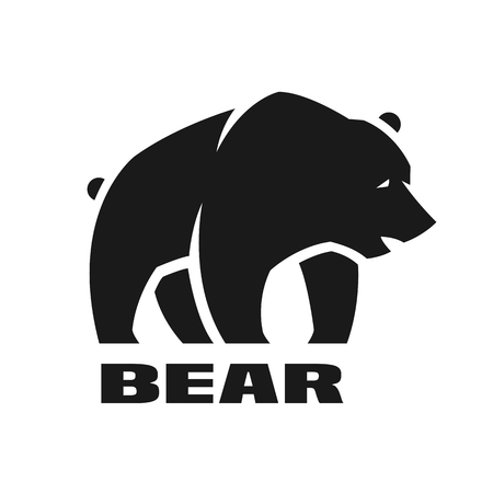 Bear, monochrome logo. Stock Vector - 84283236