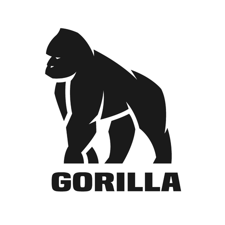 Gorilla monochrome logo. Vector illustration.