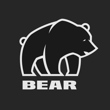 Bear, monochrome logo on a dark background. Vector illustration.