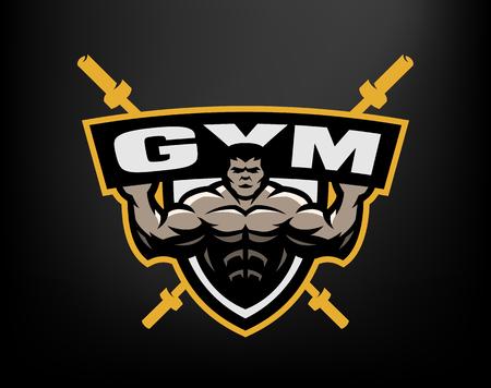 sports equipment: Bodybuilding gym logo, emblem. Illustration