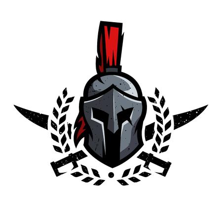 Wieniec, miecze i hełm wojownika Spartańskiego.