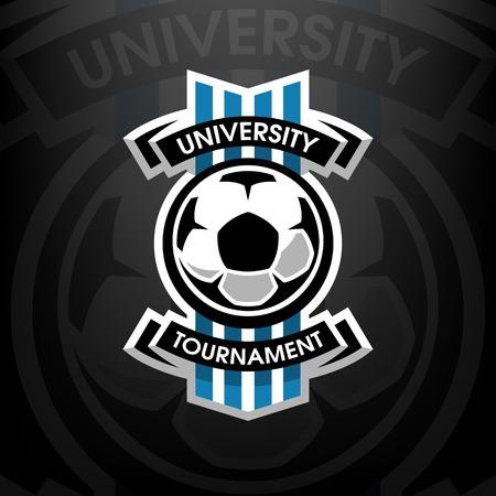 大学トーナメント、暗い背景上のサッカーのロゴ  イラスト・ベクター素材