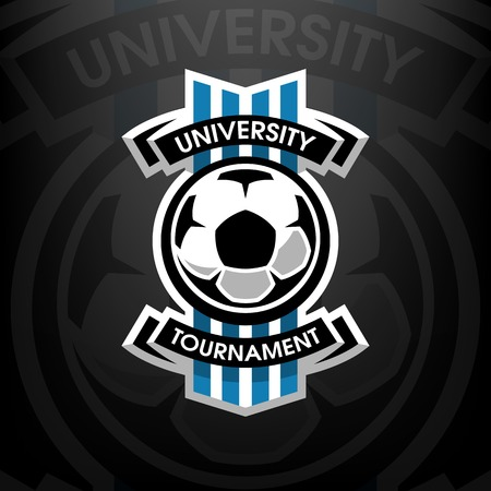 University tournament, soccer logo, on a dark background