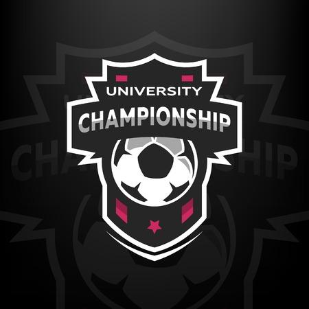 University championship, soccer logo, emblem Vector illustration Illustration