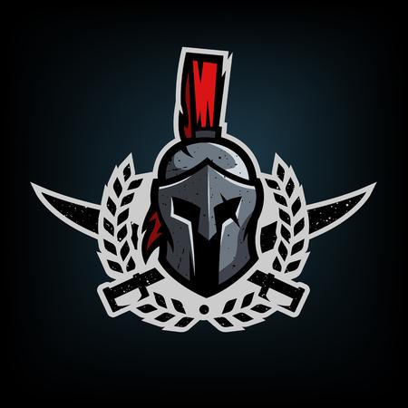 Corona, spade e casco del guerriero spartano. Archivio Fotografico - 87902951