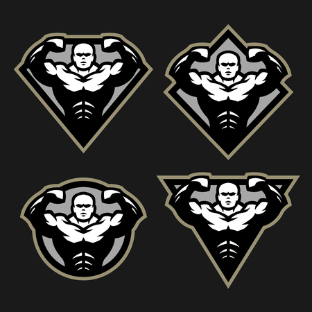 Bodybuilder sport fitness logo, a set of different shapes. Stock Photo