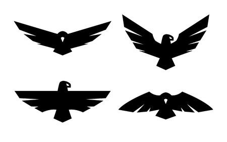 Eagle, a set of monochrome logos. Stock Illustratie