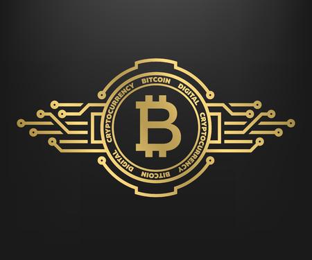 Bitcoin, simbolo dorato astratto di soldi di Internet. Crypto digitale simbolo di valuta. Vettoriali