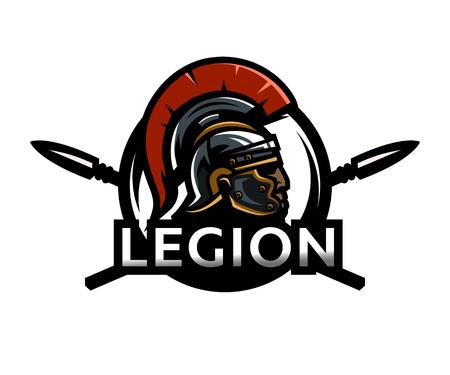 Een krijger van Rome, een legioenslogo. Stock Illustratie
