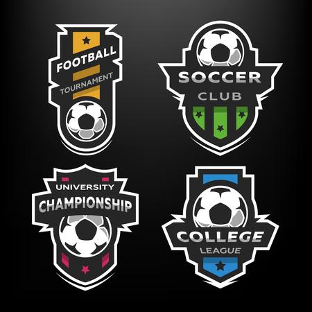 Set van voetbal voetbal logo, embleem. Stock Illustratie
