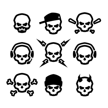 Set of skulls logo, symbol, sign. Stock Illustratie