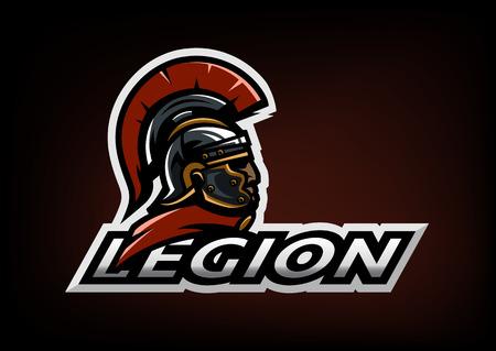 Roman Legionnaire logo on a dark background. Illustration