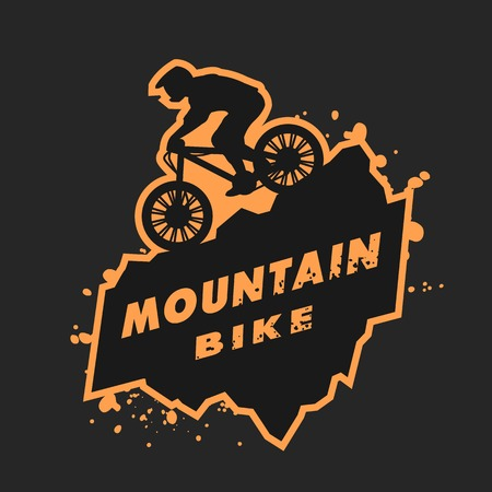 Mountain bike emblem. Stock Illustratie