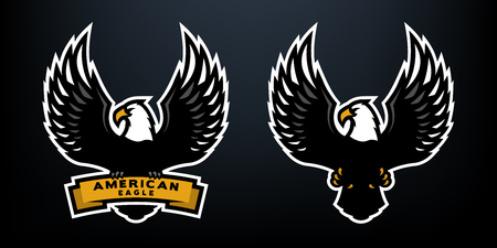 American eagle, two versions, on a dark background.