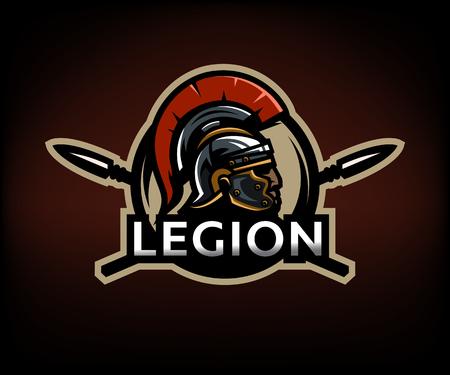 ローマ、盾と槍の背景に、軍団の戦士。