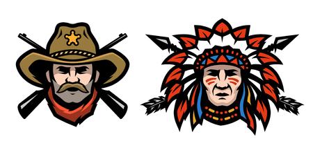 Hoofd van cowboy en indiaan. Stock Illustratie