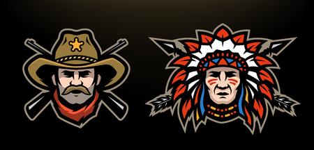 Hoofd van cowboy en indiaan op een donkere achtergrond.