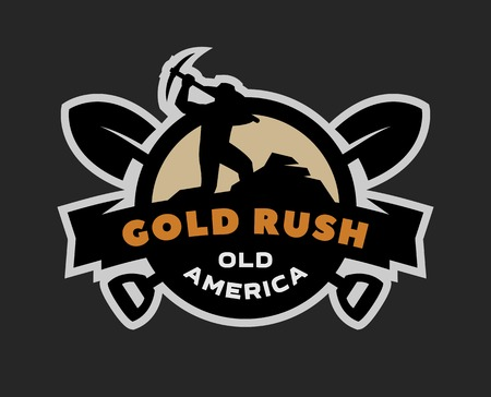 Gold rush, emblem Stock Photo