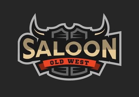 Saloon, tavern, wild west  emblem. Ilustração
