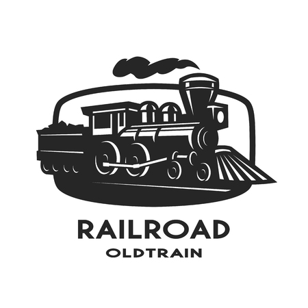 Old steam train emblem symbol design.