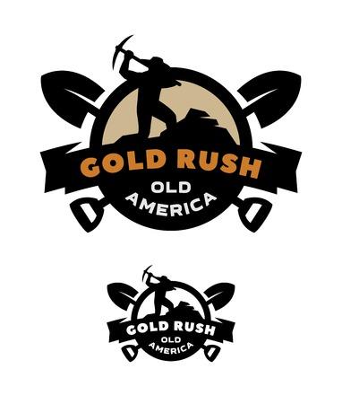 Gold rush emblem symbol design. Stock Illustratie