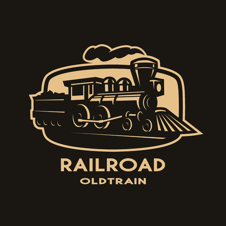 Old steam train emblem, logo.