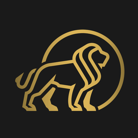 Lion logo, emblem on a dark background.