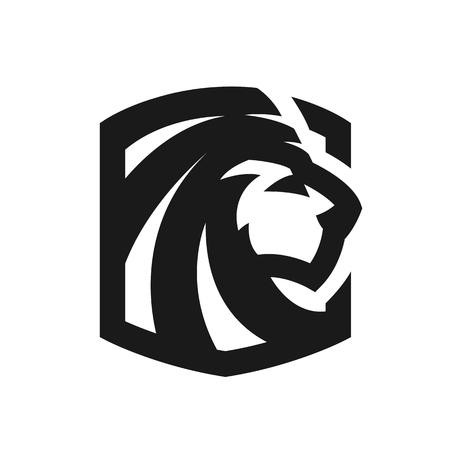 Leeuwenkop, zwart-wit logo, embleem. Stock Illustratie