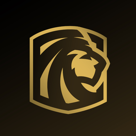 Lion head, gold icon, emblem. Stock Illustratie