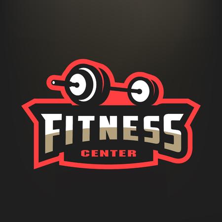 Logo de sport de centre de fitness, sur fond sombre. Banque d'images - 95278551