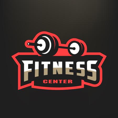 Fitness center sport logo, on a dark background.